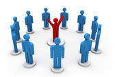 3d person icon leadership and team — Stock Photo