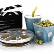 3d illustration of film slate, movie reel, popcorn and cup of cola — Stock Photo