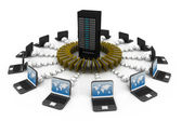 File sharing concept, Data transferring — Stock Photo