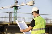 Architect on construction site. — Stock Photo