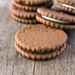 Chocolate cream cookies , close up — Stock Photo