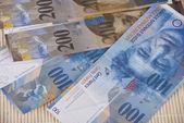 Szwajcarski Frank rachunki tło — Zdjęcie stockowe