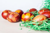 Easter eggs on a old wooden table — Stock Photo