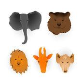 Heads of animals — Stock Vector