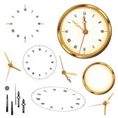 Golden clock and elements of clock on the white background — Vector de stock