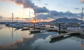 Harbor of Laredo at sunset. Cantabria (Spain). — Stock Photo
