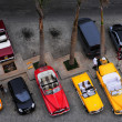 Aerial view of old American cars in front of the hotel — Stock Photo #41995305