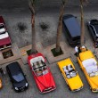 Aerial view of old American cars in front of the hotel — Stockfoto