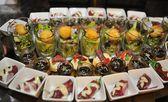 Finger food arrangement - food catering — Stock Photo