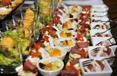 Finger food arrangement - food catering — Stock Photo