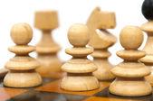 шахматные фигуры, изолированные на белом фоне — Стоковое фото