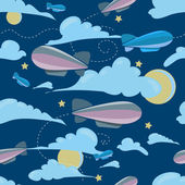 Seamless travel pattern of airship, at night — Vettoriale Stock