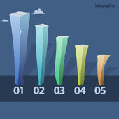 Painted pillars, infographics design — Stock Vector