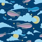 Seamless travel pattern of airship, at night — Stock Vector