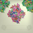 Vintage invitation card on folk background with leaves ornament. — Stock Vector #44715897