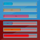 Progress indicators and progress loading bars for ui, infographi — Stock Vector