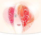 Beautiful woman of hair ornament, bright card — Stock Vector