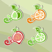 Set of fruits and berries, stickers — Stock Vector