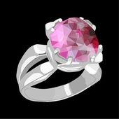 кольцо с камнем — Cтоковый вектор