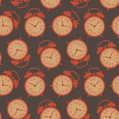 The pattern of the alarm clocks in retro style — Vector de stock