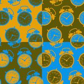 The pattern of the alarm clocks in retro style — Stock Vector