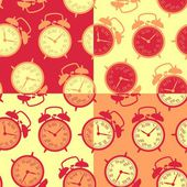 The pattern of the alarm clocks in retro style — Stockvector