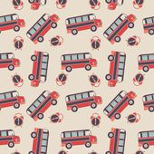 Seamless vector pattern of buses and alarms — Stok Vektör