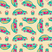 Seamless vector pattern of buses and alarms — Stockvektor