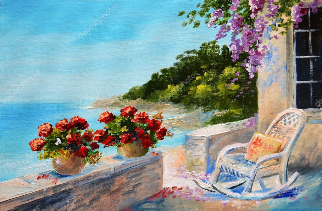 Pintura al óleo - balcón cerca del mar — Foto de stock © Max5799 ...