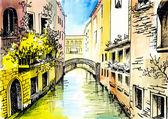 Watercolor painting - сanal in Venice — Stock fotografie