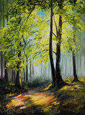 Oil painting landscape - colorful autumn forest — Stock Photo