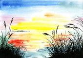 Watercolor drawing landscape — Stockfoto