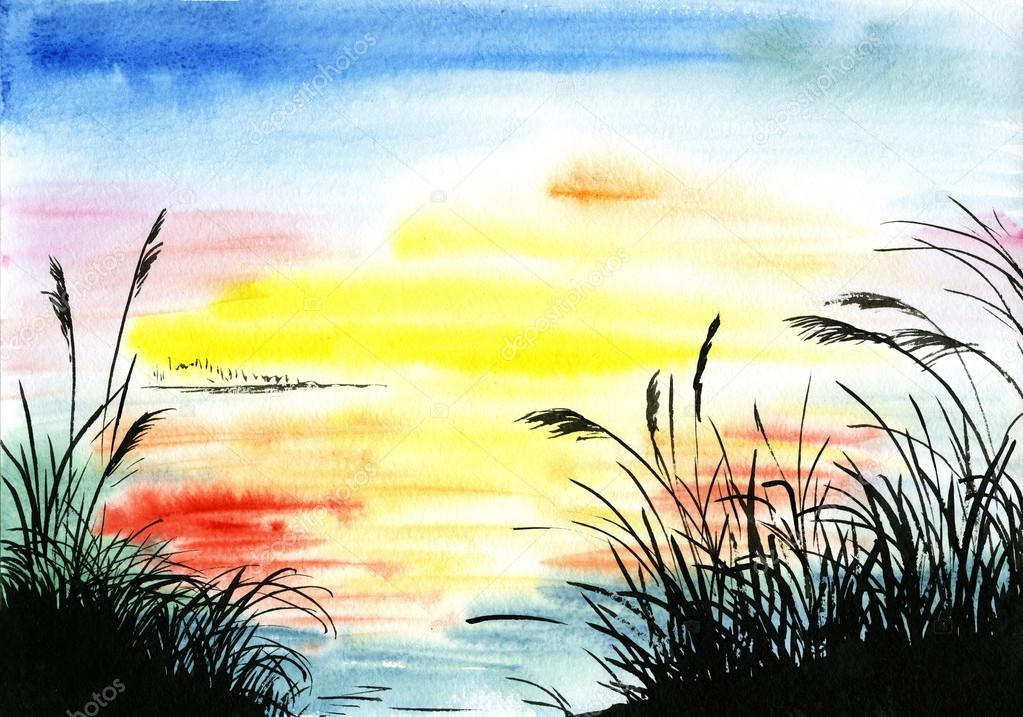 Watercolor drawing landscape — Stock Photo © Max5799 #50281381