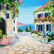 Oil painting on canvas - house near the sea — Stock Photo #50302329
