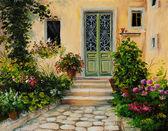 油絵 - パティオの家 — ストック写真