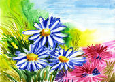 Watercolor flowers, abstracts art — Stock Photo