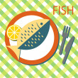 Solo fish on the plate — Stock Vector