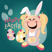 Cute cartoon girl with easter bunny ears wishing a Happy Easter — Stock Vector