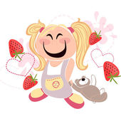 Cute girl with bear on the yogurt and strawberry background — Stock Vector