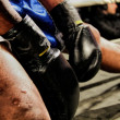 Boxing gloves during a professional boxing match — Stock Photo