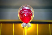 The red and whitte baloons with text just married — Stock Photo