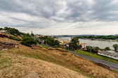 Panoramic view from Kalemegdan to the river Sava and New Belgrade — Stock Photo