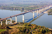 Concrete bridge aerial — Stock Photo