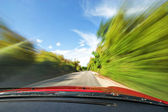 Fast Sport Car Driving in Nature Freeway — Stock Photo
