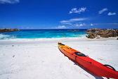 Kayak on Tropical Beach — Stock Photo