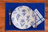 Elegant Blue Porcelain eating set — Stock Photo