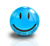 Blue Smiley 3D Happy Face — Stock Photo