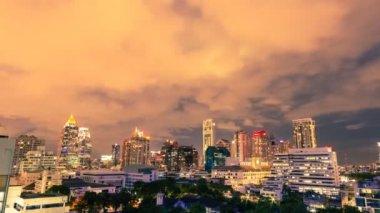 View of Bangkok skyline at night. — Stock Video
