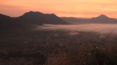 Morning Scene With Sunrise Over Mountain — Stockvideo