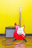 Electric guitar and amplifier — Stock Photo